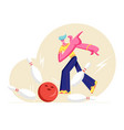 male character throw ball hitting strike bowling vector image vector image