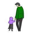 mother and son or daughter in the hood vector image