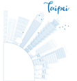 Outline Taipei skyline with blue landmarks vector image vector image