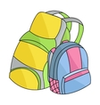 Pair of travel backpacks icon in cartoon style vector image