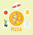 pizza and ingredients colored vector image