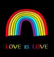 rainbow on black background colorful line set vector image