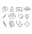 Rectangular style medical icons set vector image vector image