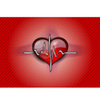 red heart with pulse rhythm vector image vector image