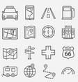 road trip travel and navigation line icons vector image