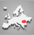 romania country location within europe 3d map vector image vector image