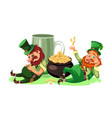 saint patrick day characters leprechaun with mug vector image