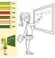 Schoolgirl at blackboard outlined vector image vector image
