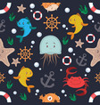 sea animals and objects seamless pattern vector image vector image