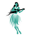silhouette of hawaiian girl wearing skirt of vector image vector image