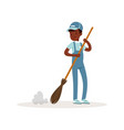 Smiling afro-american kid sweeping floor with vector image