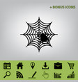 spider on web black icon at vector image vector image