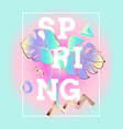 spring poster in the style and colors of vaporwave vector image vector image