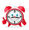 the alarm clock smiles and shows like on a white vector image