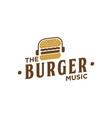 the music burger vintage logo design inspiration vector image vector image