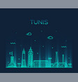 tunis skyline tunisia trendy linear style vector image