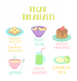 Types of vegan breakfast vector image vector image