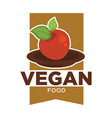 vegan food logo for vegetarian cafe or menu design vector image vector image