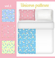 white blank and unicorn bed linen set vector image vector image