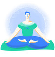 yoga time young man in lotus position practicing vector image