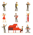 adult musicians and singers performing a musical vector image