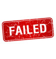 failed red square grunge textured isolated stamp vector image