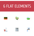 flat icons mopping wisp faucet and other