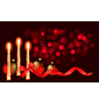 Christmas red background with candle and ribbons vector image