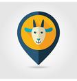 Goat flat pin map icon Animal head vector image