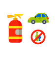 car vehicle transport type with fire extinguisher vector image