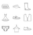 fashion clothes icon set outline style vector image