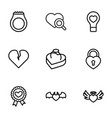 9 valentine icons vector image vector image