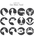 Animal Meat Seafood and Eating Icons Set