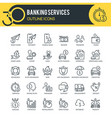 banking services outline icons vector image
