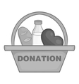 Basket of food for donations icon vector image vector image