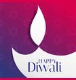 beautiful diwali festival greeting with flat diya vector image vector image