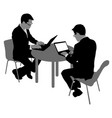 black silhouette two men sitting behind computer vector image vector image