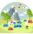 camping near mountains rest outside city vector image