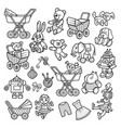 cartoon doodles hand drawn kids toys objects set vector image