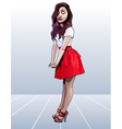 cartoon of a beautiful girl in a red skir vector image vector image