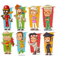 cartoon young sport player character set vector image vector image