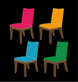 Colorful dining chairs on a black background vector image vector image