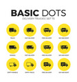 Delivery trucks flat icons set