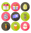 Easter flat styled circle icon set 5 with long vector image vector image