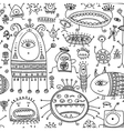 ethnic ornamental cute monsters seamless pattern 2 vector image vector image