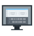 flat computer monitor icon isolated vector image