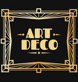 gold art deco frame border with graphic 1920s vector image vector image
