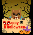 halloween background card with werewolf vector image vector image