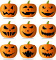 halloween pumpkin faces set on white vector image