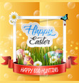 happy easter eggs with frame box vector image